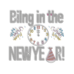 Custom Sparkling Bilng in the New Year Clock Rhinestone Iron on Transfer Design for Garments