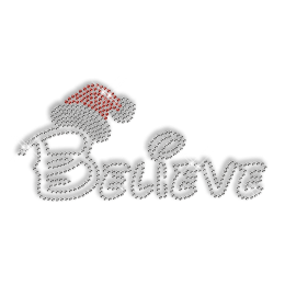 Custom Best Sparkling Word of BELIEVE and Santa\'s Hat Diamante Iron on Transfer Pattern for Shirts