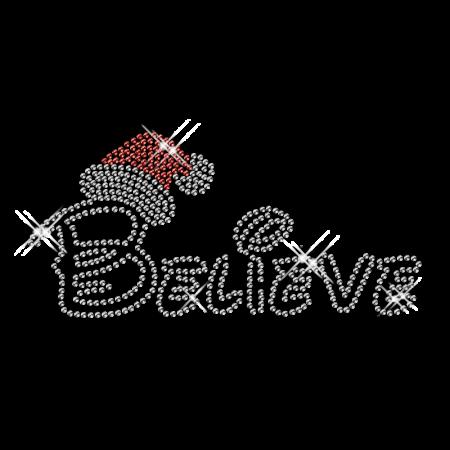 Custom Best Sparkling Word Of Believe And Santas Hat Diamante Iron