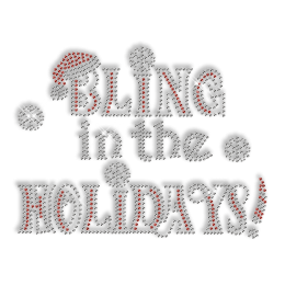 Custom Sparkling Bling in the Holidays Christmas Diamante Iron on Transfer Design for Shirts