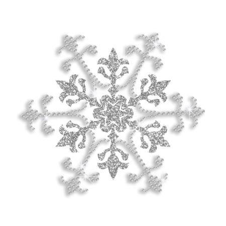 Snowflake Iron on Bling Glitter and Sequin Transfer