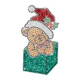 Cute Bear in Christmas Gift Box Hot Fix Bling Transfer Design