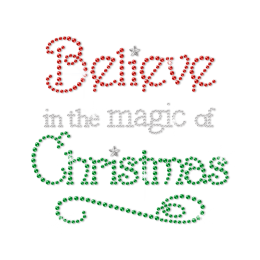 Christmas Funny Quote Bling Sequin Clothing Iron on Transfer