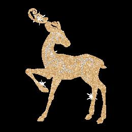 Fairy Deer Gold Glitter Hot fix Transfer Design for Christmas
