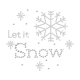 Classic Christmas Saying Let it Snow Silver Sequin Iron ons
