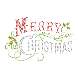 Merry Christmas Words Iron on Crystal Transfer for Xmas