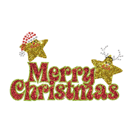 Cute Merry Christmas Words Hotfix Glitter Transfer for Kids