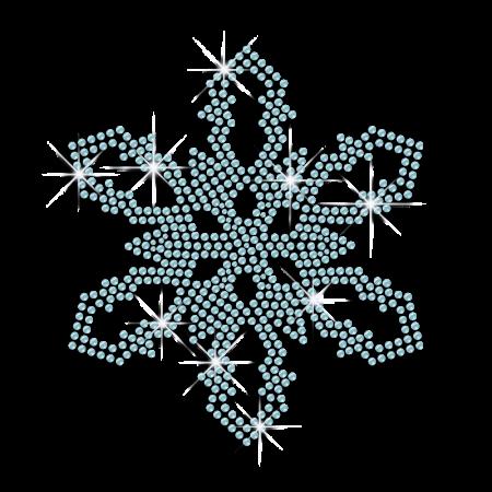 Shining Blue Snowflake Bling Iron ons