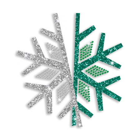 Sparkling Snowflake Diamante Transfer in Double Colors