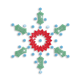 Custom Snowflake In Color Green and Red Bling Transfer