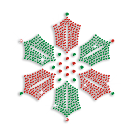 Bright Shining Snowflake in Ruby and Green Rhinestone Transfer