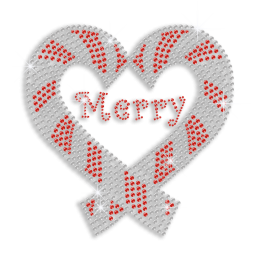Pretty Merry Christmas Heart Hotfix Rhinestud Iron on Transfer