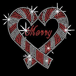 Bling Merry Christmas Heart Rhinestud Iron on Transfer