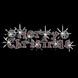 Bling Merry Christmas Banner Iron-on Rhinestone Transfer