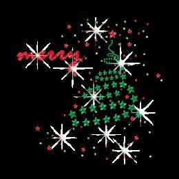 Bling Christmas Tree Iron-on Glitter Nailhead Rhinestone Transfer