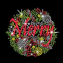 Lively Merry Christmas Iron on Glitter Nailhead Rhinestone Transfer