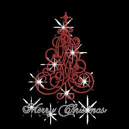Beautiful Red Christmas Tree Heat Press Rhinestone Transfer