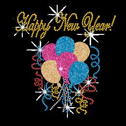 Happy New Year Balloons Iron-on Glitter Rhinestone Transfer