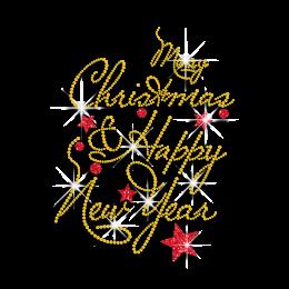 Happy Christmas & New Year Iron on Rhinestone Transfer
