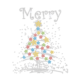 Colorful Christmas Tree Iron-on Rhinestone Transfer