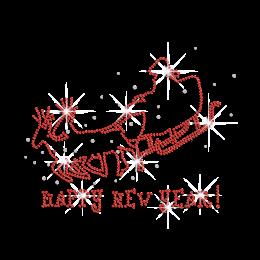 Red Santa Bless Happy New Year Iron-on Rhinestone Transfer