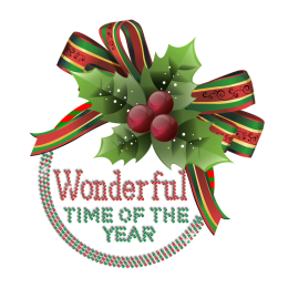 Colorful Christmas Wonder Time Iron-on Rhinestone Heat Transfer