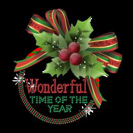 Colorful Christmas Wonder Time Iron-on Rhinestone Heat Transfer
