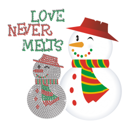 Cute Christmas Snowman Hot Fix Rhinestone Heat Transfer