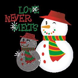 Cute Christmas Snowman Hot Fix Rhinestone Heat Transfer
