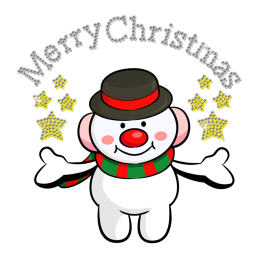 Cute Christmas Snowman Bless Iron on Rhinestone Heat Transfer