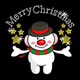 Cute Christmas Snowman Bless Iron on Rhinestone Heat Transfer