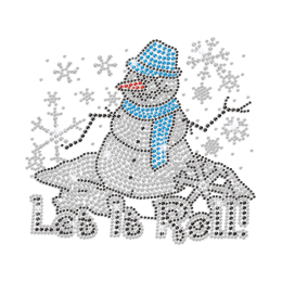 Crystal Cute Snowman Iron on Rhinestone Transfer