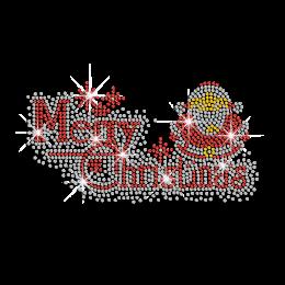 Merry Christmas Santa Claus Iron on Rhinestone Transfer