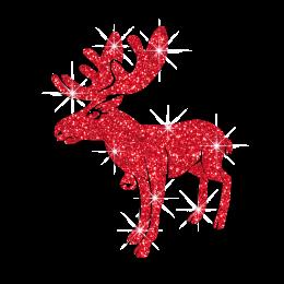 Red Glitter Chrismas Reindeer Hotfix Transfer