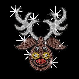 Funny Christmas Reindeer Hot fix Glitter Rhinestone Transfer