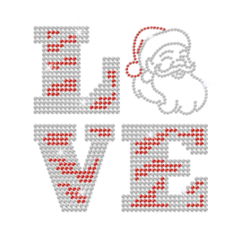Funny Customized Santa Claus Love Hot fix Rhinestone Transfer