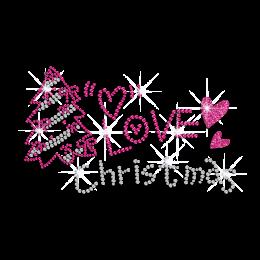 Pink Christmas Tree Love Iron on Rhinestone Design
