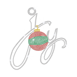 Christmas Ball Ornament & Joy Sign Iron-on Rhinestone Transfer