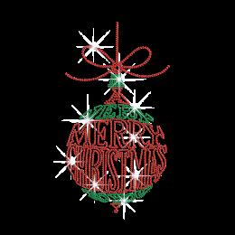 Bling Merry Christmas Ball Iron-on Rhinestone Transfer