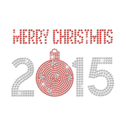 Stock Ruby Merry Christmas 2015 Iron-on Rhinestone Shaped Metal Nailhead Transfer