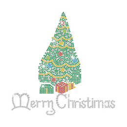 Quality Festive Christmas Tree Hot-fix Rhinestone Transfer Motif