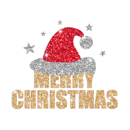 Bling Merry Christmas Santa Hat Heat Applied Glitter Transfer Design