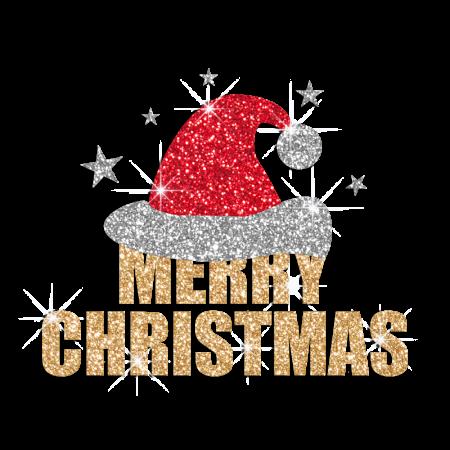Bling Merry Christmas Santa Hat Heat Applied Glitter Transfer Design