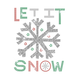 Let It Snow Iron on Rhinestone Glitter Transfer Motif