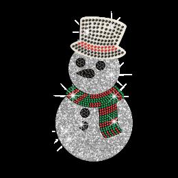 Bling Christmas Snowman Iron on Rhinestone Glitter Transfer