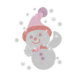 Sparkling Cute Snowman Iron on Rhinestone Transfer