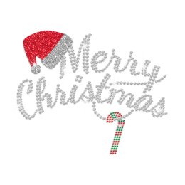 Crystal Merry Christmas Iron on Glitter Rhinestone Transfer Motif