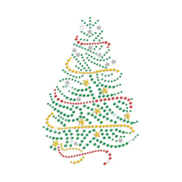 Bling Christmas Tree Iron on Rhinestone Transfer Motif