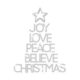 Joy Love Peace Believe Christmas Iron on Rhinestone Transfer Motif