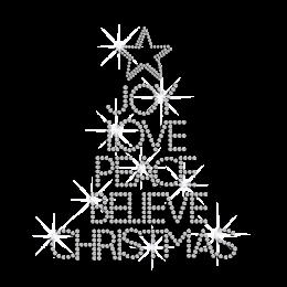 joy love peace believe christmas iron on rhinestone transfer motif